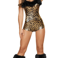 Sexy Faux Fur Sabor Leopard Romper Halloween Costume