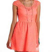 Geo Lace Open Back Skater Dress by Charlotte Russe - Neon Coral