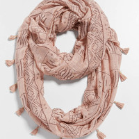 ethnic print infinity scarf with tassel fringe | maurices