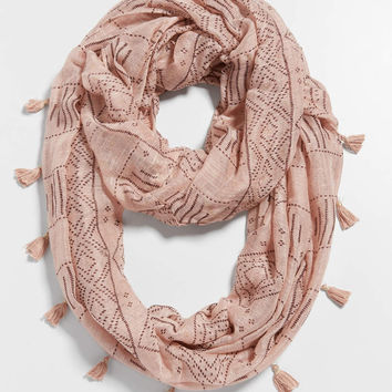 ethnic print infinity scarf with tassel fringe   maurices