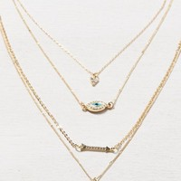 AEO Women's Eye Charm Layered Necklace (Gold)