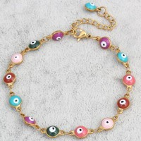 2017 new Gold color  Colorful Enamel Evil Eye Chain Bracelets & Bangles Jewelry For Women Fashion Evil Eye Jewelry Bracelet