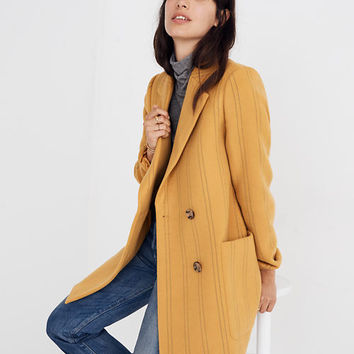 Hollis Double-Breasted Coat in Stripe