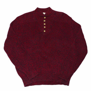 Vintage LL Bean Sweater Red/Navy Made in USA Mens Size Large