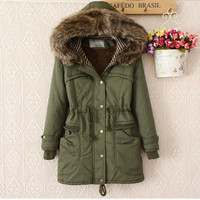 Korean Women's Fashion Winter Hats Shaped Plus Size Training Cotton Padded Coat [9515501252]