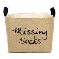 Missing Socks Burlap Storage Bin - fabric laundry basket made in USA