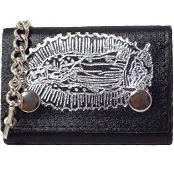 Genuine Leather Chain Trifold Wallet Virgin Mary Imprint 946-8 (C)