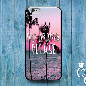 iPhone 4 4s 5 5s 5c 6 6s plus + iPod Touch 4th 5th 6th Generation Cool Pink Palm Tree Quote Cover Fun Cute Funny Phone Case No Drama Please