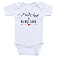 """Baby Girl Clothes """"I'm Daddy's Girl and Mommy's World"""" Cute Baby Girl Bodysuits"""