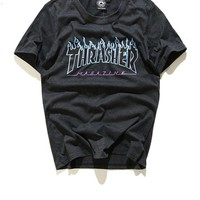 Thrasher Blue Hip-hop Skateboard Short Sleeve T-shirts [11501023948]