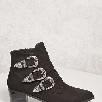 Triple Buckle Ankle Boots