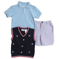 Peanut Buttons Little Prince Boat Outfit - Includes Vest, Summer Polo & Shorts (18M)