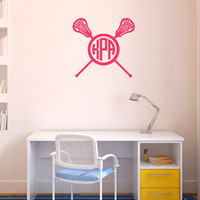 Monogrammed Lacrosse Crossed Sticks Female Removable LuLaGraphix Wall Decal | Lacrosse Decals | Lacrosse Stickers | Wall Decals for Lacrosse Players