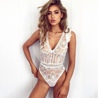 Sexy V-neck Ruffle One-piece [10836229519]