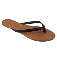Forever Faithful Classic Strap Black Flip Flops, Sandals