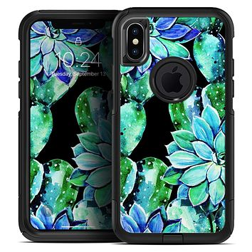 Watercolor Cactus Succulent Bloom V6 - Skin Kit for the iPhone OtterBox Cases