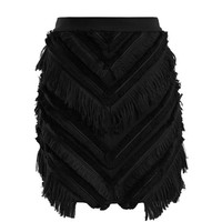 Chevron-fringed cotton-blend mini skirt | Balmain | MATCHESFASHION.COM US