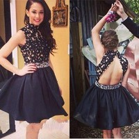 Black Homecoming Dress Short Prom Party Dresses pst0947