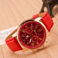 Womens Candy PU Leather Strap Watch Girls Fashion Casual Watches Best Christmas Gift