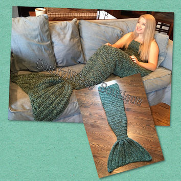 Crochet Mermaid Tail blanket afgan or throw