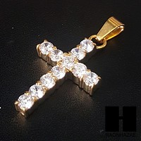 316L Stainless steel Gold 2Pac Cross Pendant Miami Cuban SS037