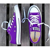 Converse New fashion canvas solid color couple shoes Purple