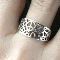 PEACE Perforated Silver Ring Sterling Ring .925 Silver Ring Personalized Ring