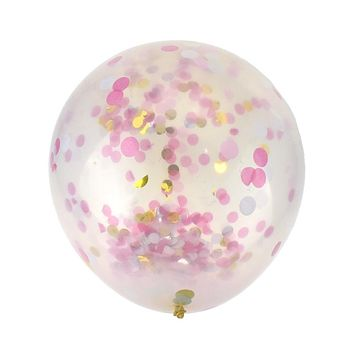 Clear Assorted Confetti Balloon, Pink, 36-Inch, 2-Count