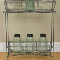 Standing Wire Basket Storage Table Stand