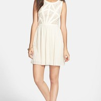 En Creme Lace Bodice Pleated Skater Dress (Juniors) (Online Only)