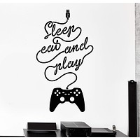 Vinyl Wall Decal Video Game Gamer Word Joystic Teenager Room Decor Stickers Unique Gift (1065ig)