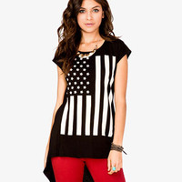 American Flag High-Low Tee