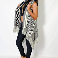 (alz) Checks and stripes open cardigan