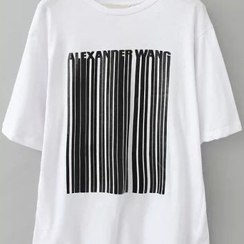 White Vertical Striped Loose T-Shirt