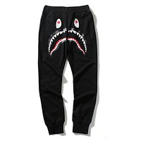 BAPE AAPE Popular Women Men Leisure Camouflage Shark Mouth Print Sport Pants Trousers Sweatpants Black