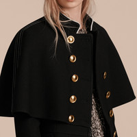 Wool Silk Military Cape Jacket