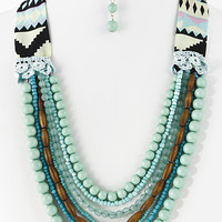 Various Bead Stranded Lace Cloth Necklace (more colors)