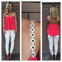 Coral Daisy Strap Low Back Tank