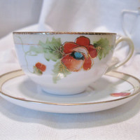 12 Piece Hand Painted Nippon Tea Service In Gorgeous Fall Colors