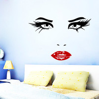 Wall Decals Vinyl Decal Sticker Face of Perfect Woman Beauty Salon Art Design Room Nice Picture Decor Hall Wall NA203