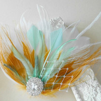 Bridal Hair Accessory, Feather Fascinator, Bridal, Bridesmaid, Hair PIece, Peacock, Mint ,Green, Gold Feather, Hair Clip