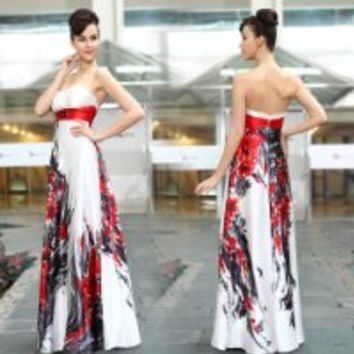 HE09972WH18, White, 16US, Ever Pretty Strapless Ribbon Stunning Rhinestones Long Formal Gowns 09972