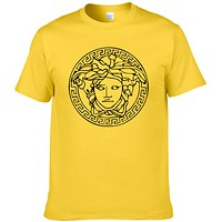 Versace Summer New Fashion People Head Print Leisure Women Men Top T-Shirt Yellow
