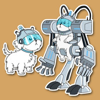 2pcs/lot rick and morty Lawnmower dog snuffles Notebook/refrigerator/skateboard/trolley case/backpack/Tables/book PVC sticker