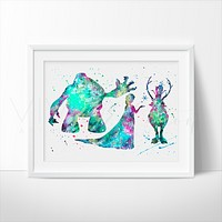 Marshmallow, Princess Elsa, Sven & Olaf Watercolor Art Print