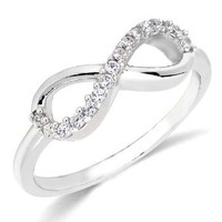 Sterling Silver Rhodium Plated Forever Infinity Ring Love & Friendship Sizes 3~9