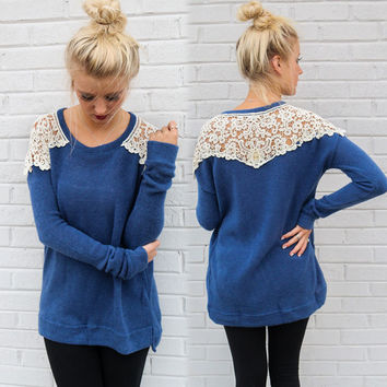 Blue Loose Long-Sleeved Lace Shirt