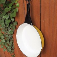 Large enamel round Frying Pan vintage yellow and white cast iron metal Skillet