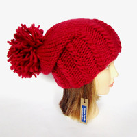 Slouchy beanie hat red slouch hat chunky knit slouchy hat Irish knit accessory for women with large pompom fun hat wool st valentines day