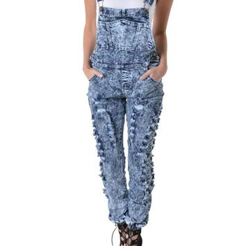 Women's Washed Ripped Overalls